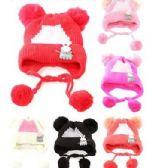 72 of Kids Girls Boys Winter Hat Warm Knit Beanie With Ear Flaps And Pom Pom