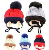 72 of Toddler Boys Winter Hat Warm Knit Beanie With Ear Flaps Fleece Lining And Pom Pom