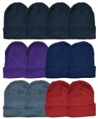24 of YACHT & SMITH 24 Pack Winter Beanie Hats, Thermal Stretch Unisex Cuffed Plain Skull Knit Hat Cap (Assorted Pack B)