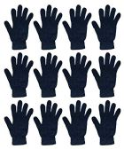 12 of Yacht & Smith Black Magic Stretch Gloves Bulk Thermal Winter Gloves Solid Black
