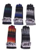 72 of Women's Cotton Striped Winter Glove With Fur