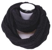 72 of Women's Knitted Winter Infinity Scarf In Black
