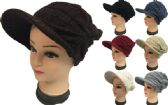 24 of Knitted Lady Hats with Bill Winter Hats Solid Colors