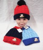 36 of KID WINTER HAT WITH TEDDY BEAR ASSORTED COLOR