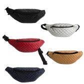 24 of Large Quilted Bulk Fanny Packs Belt Bags in 5 Assorted Colors