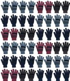 48 of Yacht & Smith 48 Pack Wholesale Bulk Winter Gloves Unisex (Stripe Gloves A)