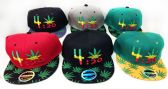 24 of Snap Back Flat Bill Marijuana Leaf 4:20 Design Hat