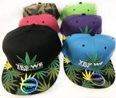 24 of Snap Back Flat Bill Marijuana Yes We Cannabis Assorted