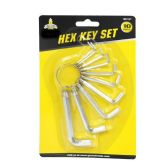 24 of 10 PIECE HEX KEY SET ON RING