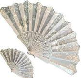 120 of White Glitter Folding Hand Fans
