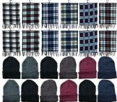288 of Yacht & Smith Unisex Warm Winter Plaid Fleece Scarfs Size 60x12 And Assorted Color Beanies Set Bulk Buy