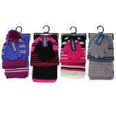 30 of GIRLS 3-PIECE STRIPE SET HAT-GLOVES-SCARF