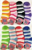60 of Striped Lady Fuzzy Socks Assorted
