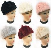 36 of Faux Fur Ladies Winter Hat Assorted Colors