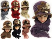 24 of Knitted Women's Winter Hat And Scarf Set Assorted Colors