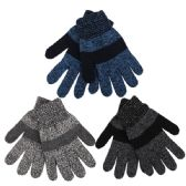 72 of Boys Marled Striped Knitted Winter Gloves