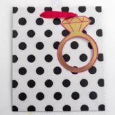 60 of Gift Bag Cub Embellished Stripes Gold Ring