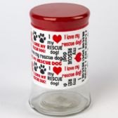 12 of Dog Treat Jar Glass I Love My Rescue Dog