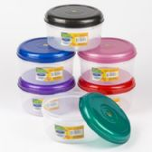 48 of Food Storage Container 6 Color Lids With Clear Bottom