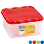 48 of Food Storage Container Square Air Tight With 4 Lid Colors Clear Bottom