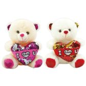 12 of Valentine Plush Teddy Bear With Heart Assorted