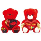 24 of Valentine Plush Teddy Bear With Heart Red