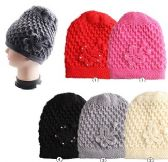 24 of Woman's Solid Knitted Hat with Butterfly