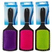 24 of Hair Brush 3.15in Paddle 3 Assorted Colors With Black Handle