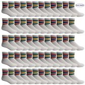240 of Yacht & Smith Wholesale Bulk Womens Mid Ankle Socks, Cotton Sport Athletic Socks - Size 9-11, (White with Stripes, 240)