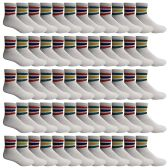 60 of Yacht & Smith Wholesale Bulk Womens Mid Ankle Socks, Cotton Sport Athletic Socks - Size 9-11, (White with Stripes, 60)