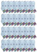 48 of Yacht & Smith Wholesale Bulk Womens Mid Ankle Socks, Cotton Sport Athletic Socks - Size 9-11, (White with Stripes, 48)