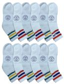 12 of Yacht & Smith Wholesale Bulk Womens Mid Ankle Socks, Cotton Sport Athletic Socks - Size 9-11, (White with Stripes, 12)
