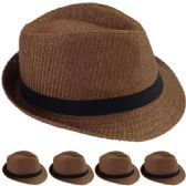 24 of STRAW FEDORA HAT IN BROWN