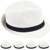 24 of STRAW FEDORA HAT IN WHITE