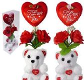 60 of Plush Love You Bears With Heart And Silk Roses