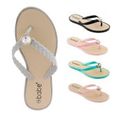 60 of Women's Flip Flop with Braided Straps and Crystal