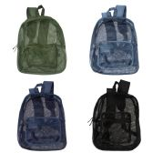 """24 of 17"""" Mesh Backpacks in 4 Assorted Colors"""