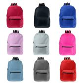 """24 of 17"""" Kids Basic Wholesale Backpacks in 9 Assorted Colors"""