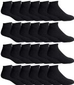 24 of Yacht & Smith Men's Wholesale Bulk No Show Ankle Socks, With Free Shipping - Size 10-13 (Black)