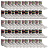 240 of Yacht & Smith Wholesale Bulk Women's Mid Ankle Socks, With Free Shipping - Size 9-11 (White with Stripes)