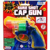 "96 of 6"" CLEAR MULTI-COLOR CAP TOY GUN(REVOLVER) ON BLISTER CARD"