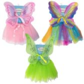 24 of Tutu Costume Set Garden Fairy 3ast W/wings Multi/green/pink