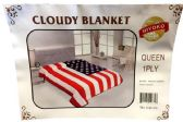 24 of One Ply American Flag Queen size Blanket