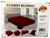 24 of One Ply Plain Red Color Queen size Blanket
