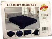 24 of One Ply Plain Dark Blue Color Queen size Blanket