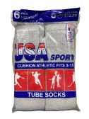 120 of USA Men's Sport Tube Socks, Referee Style, Size 9-15 Solid Gray