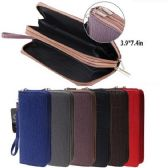 24 of Ladies Dual Zipper Wallet with Wrist Strap [Textured Design]