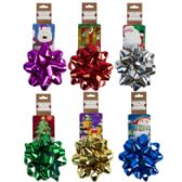 24 of Christmas Foil Bow W/ Printed Tag Card