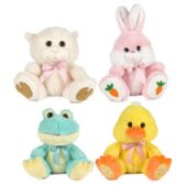 24 of Plush Easter Big Paw 9.5in Bunny/lamb/chick/frog Easter/ht W/ribbon Tie