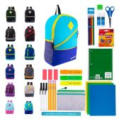 "12 of 17"" Bulk Backpacks with 39 Piece School Supply Kits"